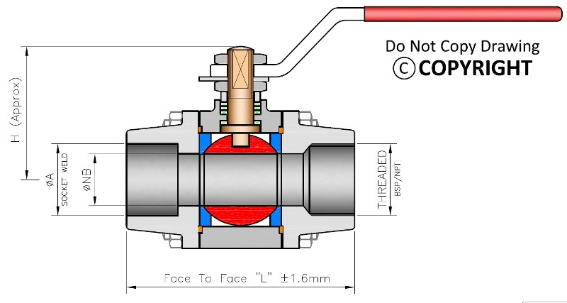 3 Piece Design Ball Valve Drawing Dimensions Catalogue