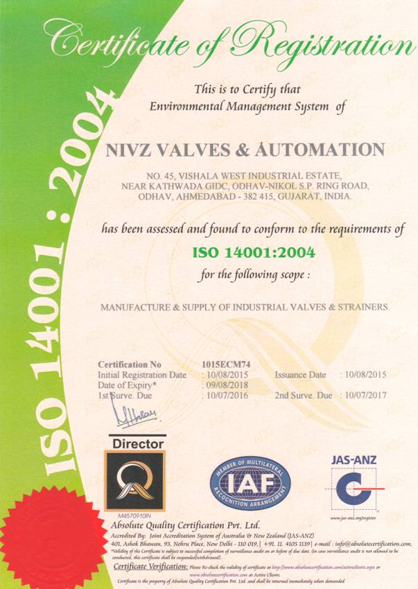 ISO 14001 Certified Company Valves Manufacturer, Exporter, Supplier ...
