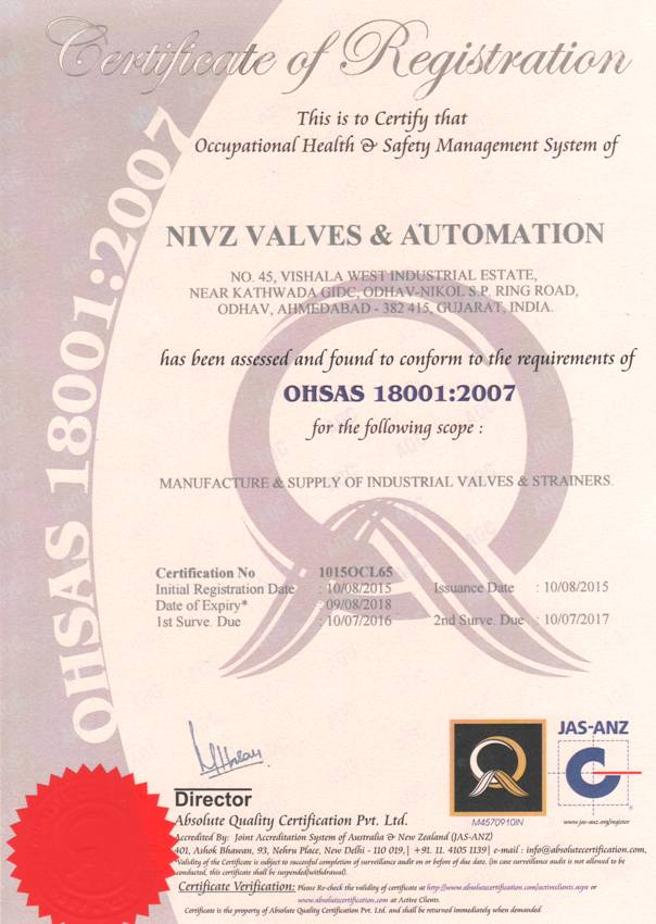 OHSAS 18001 Certified Company Valves Manufacturer, Exporter ...