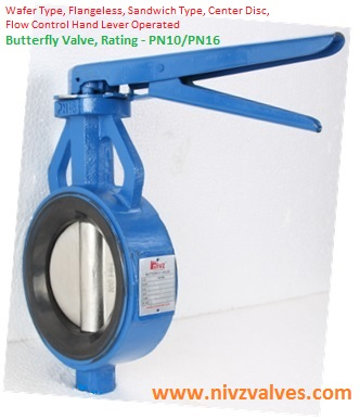 Wafer Type Center Disc Rubber Lined Slim Seal Design Butterfly Valve