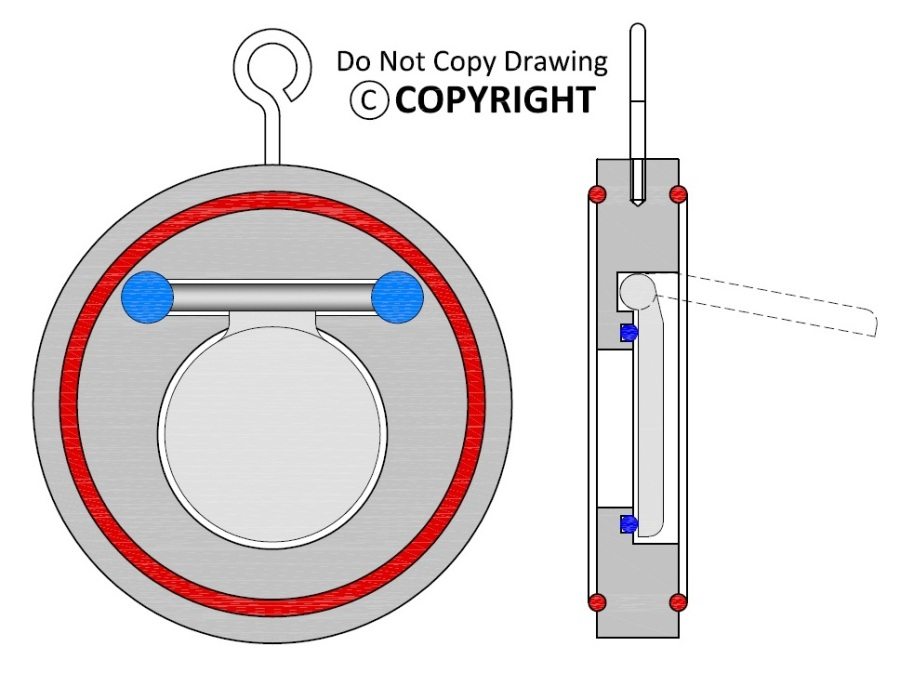 Wafer Type Swing Check Valve Internal Parts Cross Sectional GA Drawing