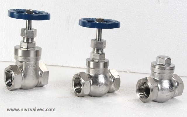 Investment Casting � I.C. Union/Threaded Bonnet Gate-Globe-Check Valve-Non Return Valve (Horizontal Line), Threaded/Screwed (BSP/NPT) End, Hand Wheel Operated, Pressure Rating � Class150/PN10/PN16/PN25, Body Material CF8-SS304/CF8M-SS316/CF3-SS304L/CF3M-SS316L