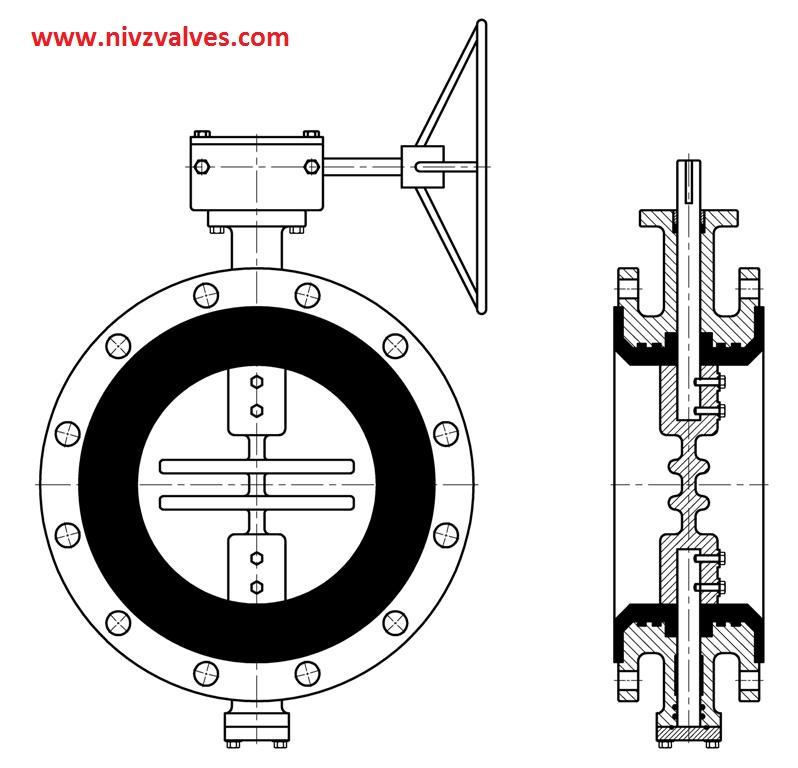 Double flanged end butterfly valve manufacturer exporter
