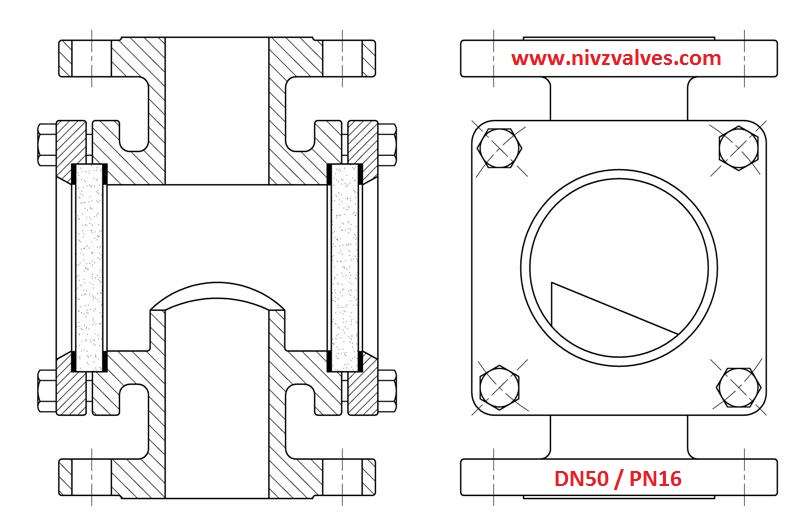 Download Drawing Dimensions of Double Window Type Sight Glass Flow Indicator